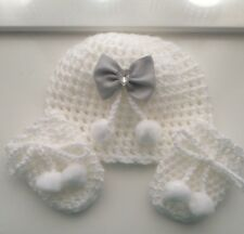 Pom Pom Baby White/Silver Hat and Mittens Set 0/3 mths