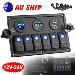 6 Gang 12V Switch Panel LED Light Rocker Circuit Breaker For Car RV Boat Marine