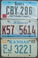 Lot of 3 Different US license plates  KANSAS  ILLINOIS  IOWA      KS  IL  IA