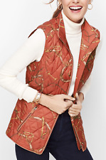 NEW TALBOTS EQUESTRIAN PRINT QUILTED VEST JACKET SIZE XL HORSE