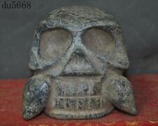 Antiques Chinese Hongshan Culture natural old jade hand-carved skull head statue