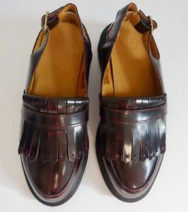DR MARTENS Valentine Slingback Tassel Loafers Leather Cherry Red UK 4 EU 37