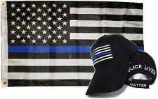 Wholesale Combo 3x5 Police Usa Memorial Flag & Police Lives Matter Black Hat Cap