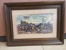 rare vintage Shulamit Tal Old Watercolor Painting Avant-Garde Israel Art שולה טל