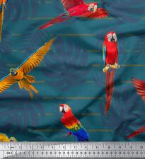 Soimoi Fabric Tropical Leaves & Bird Print Sewing Fabric Meter - BRD-18D