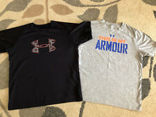 LOT of 2 Boys UNDER ARMOUR Athletic T-Shirts Size L LARGE YLG BLACK Heather Gray