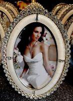 Rhinestones W/Crystals Wedding Bride Anniversary 5x7 Oval Photo Frame Gorgeous!