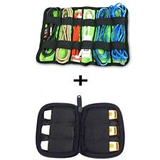 Cable Organizer Bag System Kit and Mini case for USB Flash Drive Storage Travel
