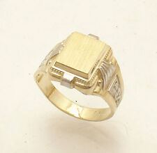 Size 7 Men's Engravable Pinky Signet Ring Real Solid 14K Yellow White Gold