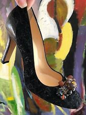 COLE HAAN COLLECTION MEENA  CROCODILE EMBOSSED LEATHER BOUCLE BEADS PUMP $450 8B