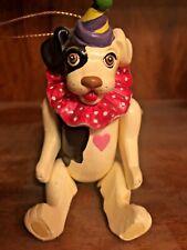 Vintage 1981 Vandor Pelzman Designs jointed dog clown heart figurine