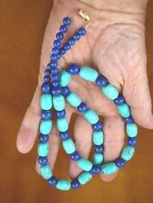 "(v326-53) 27"" long Chinese turquoise + blue Lapis bead beaded gemstone Necklace"