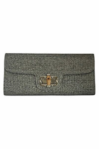 Allie And Chica Silver Wove Straw Clutch Bamboo Clasp + Convertible Chain Strap