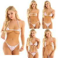 Women Strawberry Micro Bra Top Briefs Triangle Bikini Push up Swimwear Swimsuit