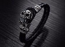 Braided Leather & Titanium Steel Skull Bracelet & Cubic Zirconia Stone/wristband
