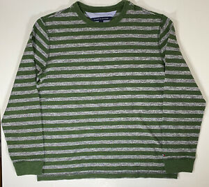 Tommy Hilfiger Mens Crew Neck Pullover Striped Large Cotton Green Sweater