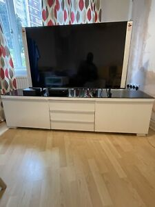 Besta Burs IKEA TV Unit High White Gloss With Black Glass Top Good Condition