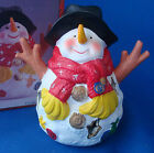 "Artmart Snowman Candle Holder tea light ceramic hand painted 5¾"" tall in box"