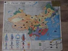 Carte Affiche Scolaire L'URSS et la Chine Agriculture Elevage Pêche M.D.I