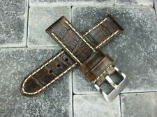 BIG CROCO 24mm LEATHER STRAP Antique Brown Watch Band Super Avenger White
