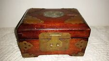 "Shanghai, China: Wood, Jade, Brass 3"" X 5.25"" X 4"" JEWELRY BOX  150402020"