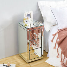Bedroom Mirrored 3 Drawers Bedside Table Modern Storage Cabinet Chest of Drawers