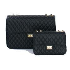 2pcs/Set Moda Borsa Donna Trapuntata Pelle Grande Tracolla Catena Spalla Bag