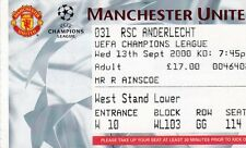 MANCHESTER UNITED V RSC ANDERLECHT 13 SEPTEMBER 2000 CHAMPIONS LEAGUE TICKET