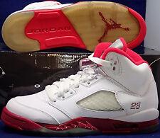 2011 Nike Girls Air Jordan 5 V Retro White Red (GS) Youth SZ 7Y ( 440892-101 )