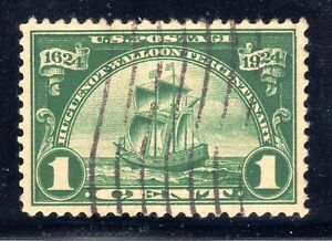US STAMP #614  —  1c HUGUENOT-WALLOON — XF — USED —  GRADED 90
