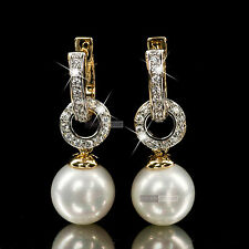 18k yellow gold GF made with swarovski crystal wedding pearl stud earrings