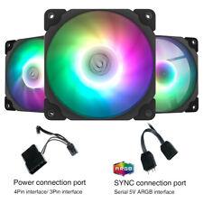 3-Pack Black Frame 120mm ARGB LED PC Computer Case Cooling Fan Vetroo BK120