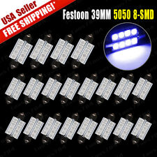 20x Festoon 39mm 5050 8SMD Dome Map Interior LED Blue Light Bulbs DE3425 6418