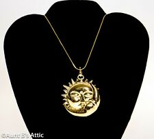 Sun/Moon Gold Metal Pendant / Medallion Gold Chain Mystic Costume Jewelry