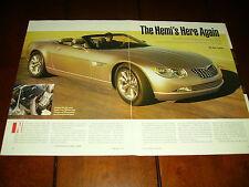 2000 CHRYSLER HEMI 300C 2 DOOR CONCEPT CAR  ***ORIGINAL ARTICLE***