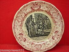 Jolie ancienne assiette Sarreguemines, Jeanne d'Arc et Charles VII