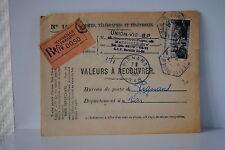 PIC DU MIDI 40 FRS LETTRE VALEURS A RECOUVRER ST FERREOL / PERPIGNAN 02/12/1953