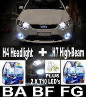 CRYSTAL WHITE Headlight HI  Lo Fog Light Bulbs FALCON BA BF FG XR6 XR8 G6E