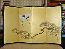 Antique Chinese 4 Folding Panel Screen Signed Crane Mixed Media Painting On Silk