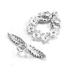 Sterling silver Round FLOWER WREATH Toggle Clasp 16.4mm