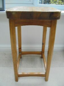 Vintage pine kitchen bar stool, solid and chunky, 57cm tall