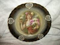 ANTIQUE LADY PORTRAIT CABINET PLATE GERMANY PORCELAIN GILT CROWNS BAVARIA 1920's