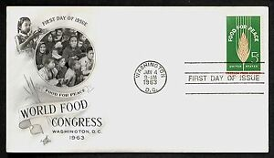 #1231 5c Food For Peace, Art Craft-World food Congress FDC ANY 4=FREE SHIP