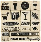 """Inkadinkado Cheers Mounted Stamp Set, 3"""" by 3"""" Happy Hour Beer Wine Cocktails"""