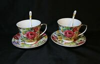 2 Tea Cups with Saucers & Spoons, Royal Porcelain England, New in Box