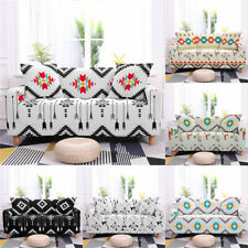 1-4 Seaters Sofa Covers Geometry Feather Furniture Protection Stretch Polyester