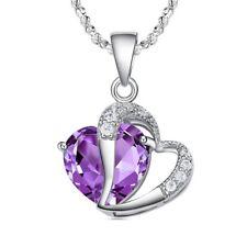 Collar de Moda Mujer Elegante Plata Amatista Corazon Purpura Cristal Colgan T1T6