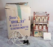 Rare Dept 56 Snow Village Grocery 1983-85 #5001-6 MIB With Light Cord