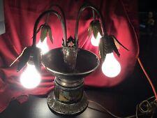 Vintage Art Nouveau Table Lamp Slag Glass Lamp Tulip Shaped Palm Leaf Hand Paint