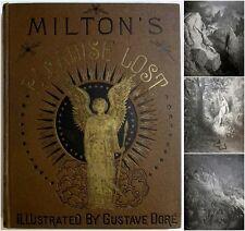 Antique GUSTAVE DORE Milton PARADISE LOST Occult Devil Satan Adam Eve Art Book